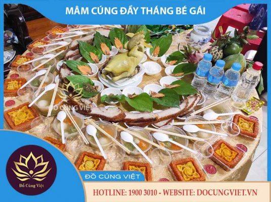 Mâm cúng đầy tháng bé gái theo truyền thống người Việt