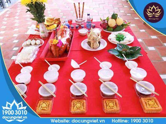 Lễ vật đầy đủ trong mâm cúng thổ công đất đai của Đồ Cúng Việt