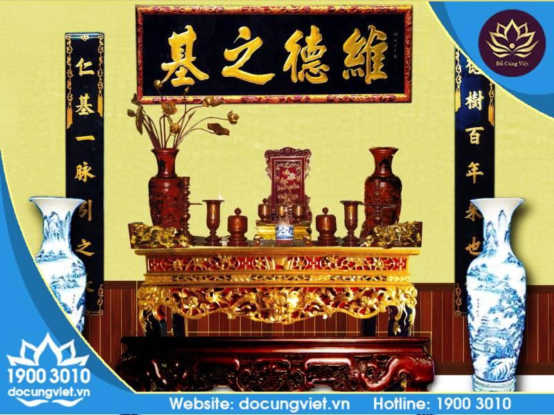 Phong thủy bàn thờ gia tiên được dọn dẹp sạch sẽ
